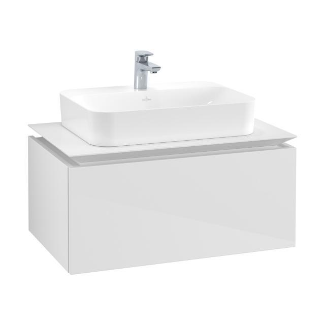 Villeroy & Boch Legato Waschtischunterschrank für Aufsatzwaschtisch mit 1 Auszug Front glossy white / Korpus glossy white