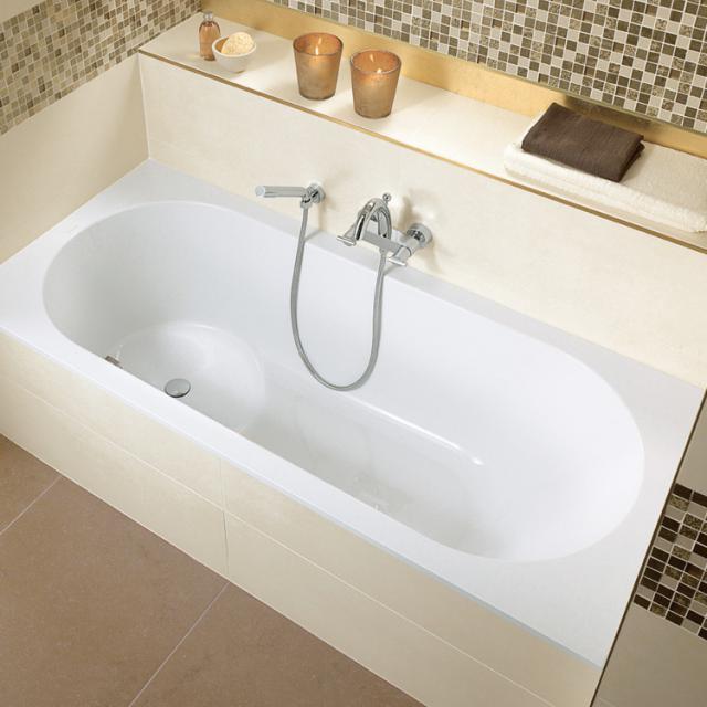 Villeroy & Boch Libra Rechteck-Badewanne mit Duschzone, Einbau weiß