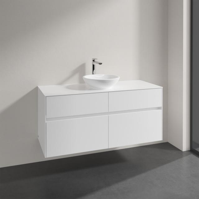 Villeroy & Boch Loop & Friends Aufsatzwaschtisch mit Embrace Waschtischunterschrank mit 4 Auszügen Front glossy white / Korpus glossy white, Griffmulde weiß matt, WT mit Überlauf