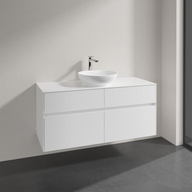 Villeroy & Boch Loop & Friends Aufsatzwaschtisch mit Embrace Waschtischunterschrank mit 4 Auszügen Front glossy white / Korpus glossy white, Griffmulde weiß matt