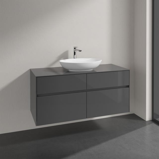 Villeroy & Boch Loop & Friends Aufsatzwaschtisch mit Embrace Waschtischunterschrank mit 4 Auszügen Front glossy grey / Korpus glossy grey, Griffmulde anthrazit matt