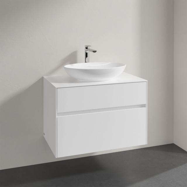 Villeroy & Boch Loop & Friends Aufsatzwaschtisch mit Embrace Waschtischunterschrank mit 2 Auszügen Front glossy white / Korpus glossy white, Griffmulde weiß matt