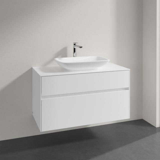Villeroy & Boch Loop & Friends Aufsatzwaschtisch mit Embrace Waschtischunterschrank mit 2 Auszügen Front glossy white / Korpus glossy white, Griffmulde weiß matt, WT mit Überlauf