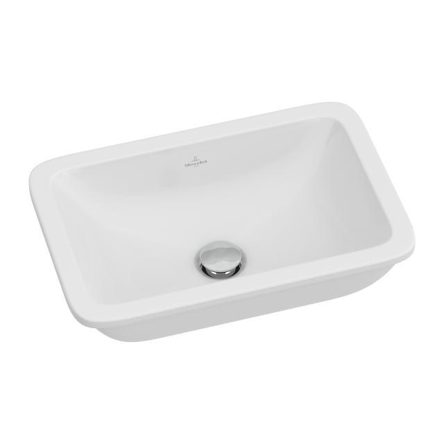 Villeroy & Boch Loop & Friends Unterbauwaschtisch, eckig weiß mit CeramicPlus mit Überlauf