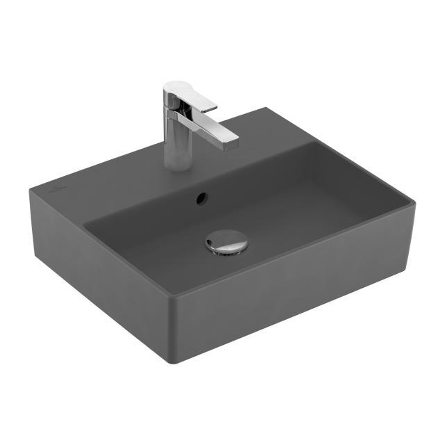 Villeroy & Boch Memento 2.0 Handwaschbecken graphite mit CeramicPlus, mit 1 Hahnloch, mit Überlauf, ungeschliffen