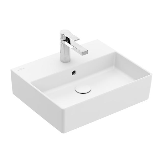 Villeroy & Boch Memento 2.0 Handwaschbecken stone white mit CeramicPlus, mit 1 Hahnloch, mit Überlauf, geschliffen