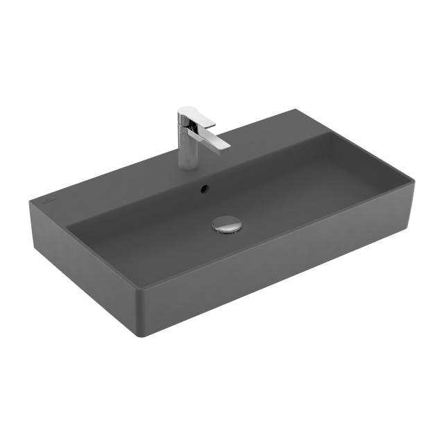Villeroy & Boch Memento 2.0 Waschtisch graphite mit CeramicPlus, mit 1 Hahnloch, mit Überlauf, geschliffen