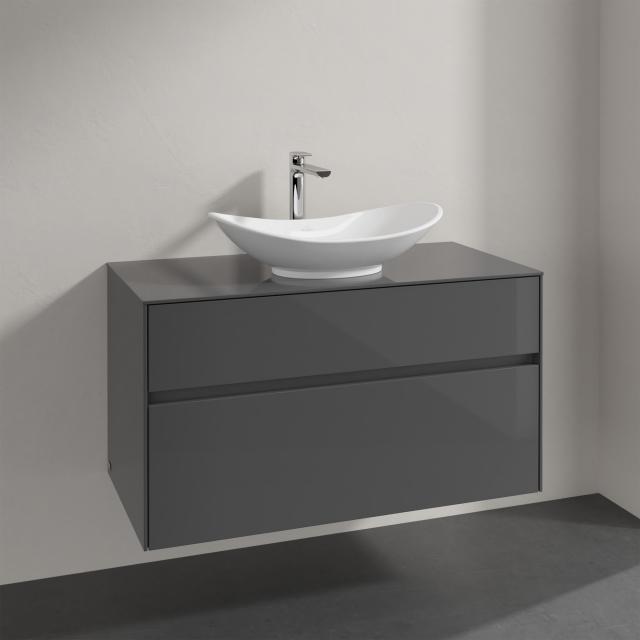 Villeroy & Boch My Nature Aufsatzwaschtisch mit Embrace Waschtischunterschrank mit 2 Auszügen Front glossy grey / Korpus glossy grey, Griffmulde anthrazit matt