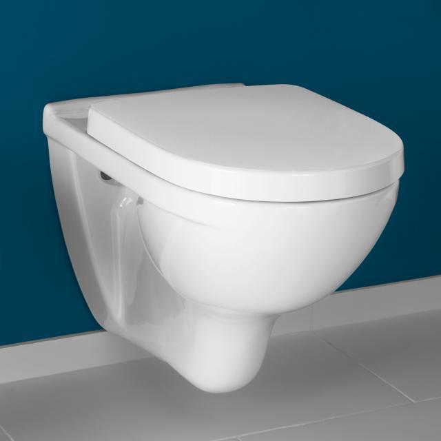 Villeroy & Boch O.novo Combi-Pack Wand-Tiefspül-WC, mit WC-Sitz ohne Spülrand, weiß, mit CeramicPlus