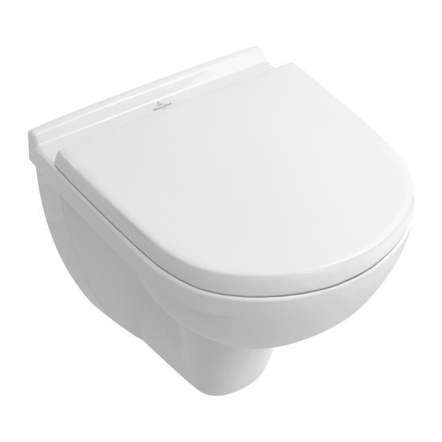 Villeroy & Boch O.novo Combi-Pack Compact Wand-Tiefspül-WC, mit WC-Sitz ohne Spülrand, weiß, mit CeramicPlus