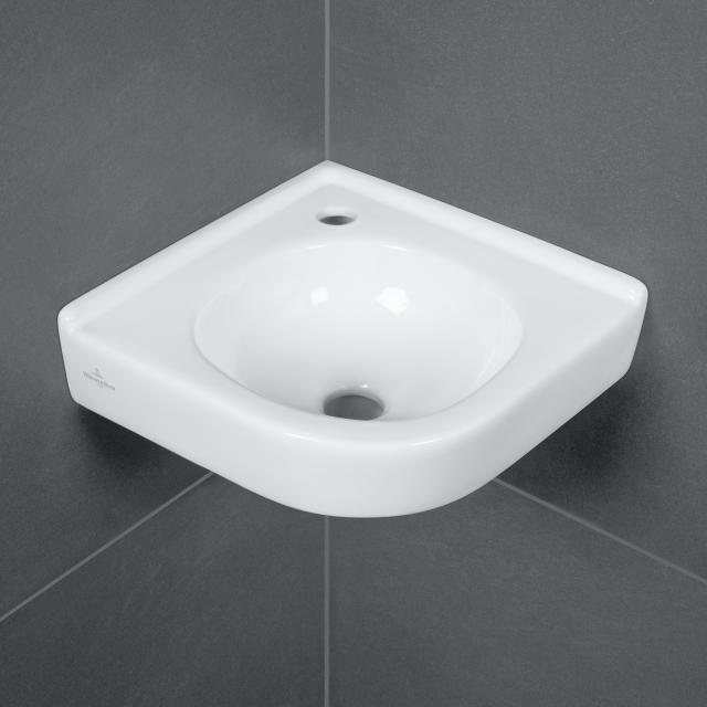Villeroy & Boch O.novo Eck-Handwaschbecken weiß mit CeramicPlus, ohne Überlauf