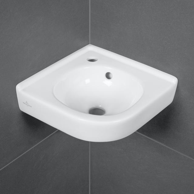 Villeroy & Boch O.novo Eck-Handwaschbecken weiß, mit Überlauf