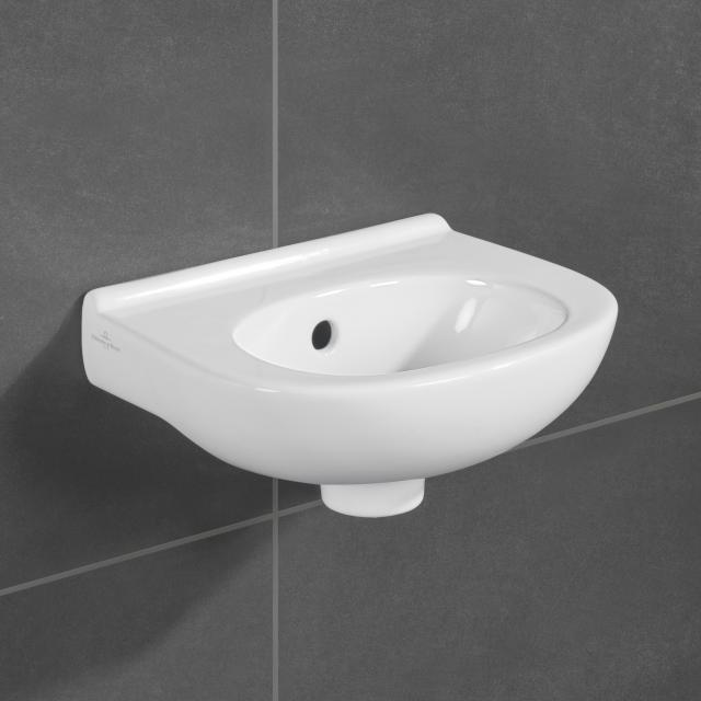 Villeroy & Boch O.novo Handwaschbecken weiß, ohne Hahnloch, mit Überlauf
