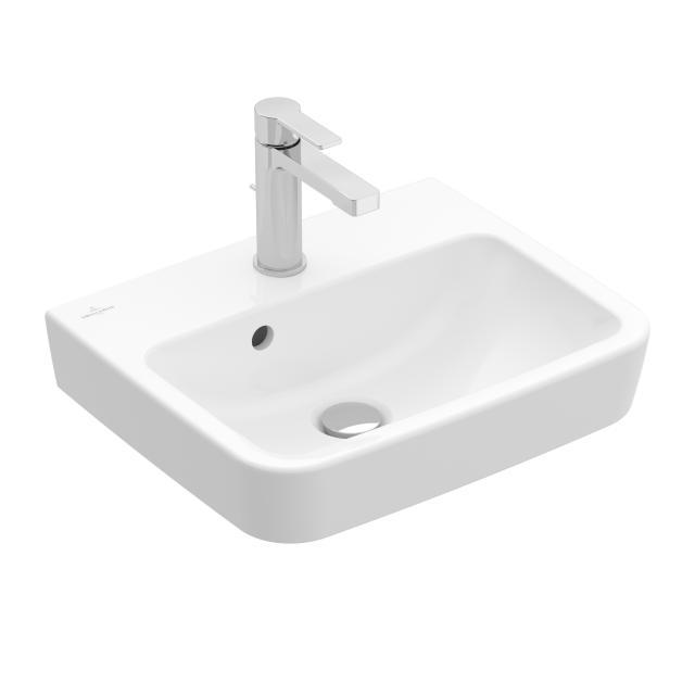 Villeroy & Boch O.novo Handwaschbecken weiß, mit 1 Hahnloch, ungeschliffen, mit Überlauf