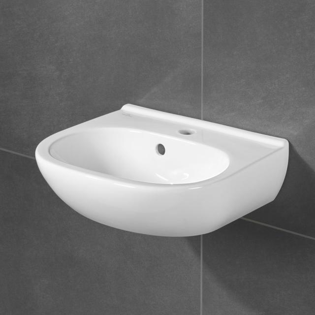 Villeroy & Boch O.novo Handwaschbecken Compact weiß mit CeramicPlus, mit 1 Hahnloch, mit Überlauf