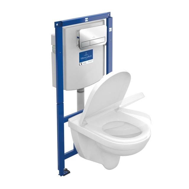 Villeroy & Boch O.novo Wand-Tiefspül-WC Combi-Pack ViConnect, offener Spülrand, mit WC-Sitz Drückerplatte chrom