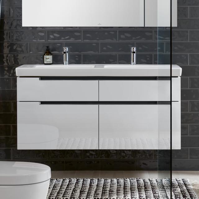 Villeroy & Boch Subway 2.0 Doppel-Waschtisch mit Waschtischunterschrank XXL mit 4 Auszügen Front glossy white / Korpus glossy white