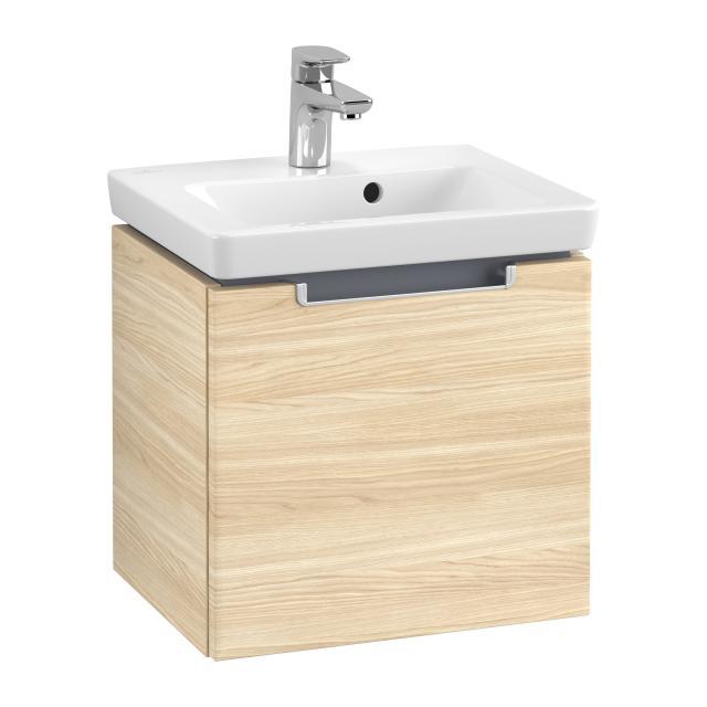 Villeroy & Boch Subway 2.0 Handwaschbeckenunterschrank mit 1 Auszug Front ulme impresso / Korpus ulme impresso, Griff silber matt