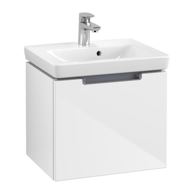 Villeroy & Boch Subway 2.0 Handwaschbeckenunterschrank mit 1 Auszug Front glossy white / Korpus glossy white, Griff chrom