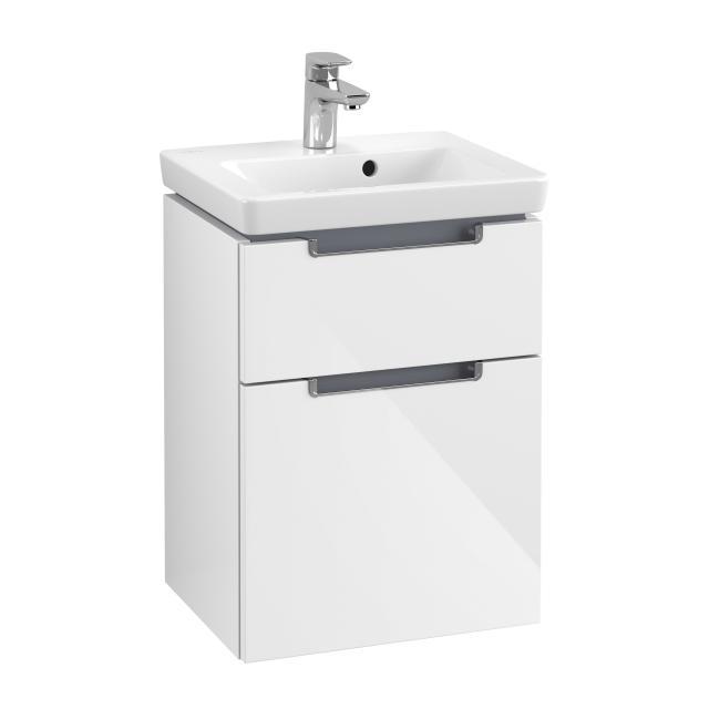 Villeroy & Boch Subway 2.0 Handwaschbeckenunterschrank XXL mit 2 Auszügen Front glossy white / Korpus glossy white, Griff chrom