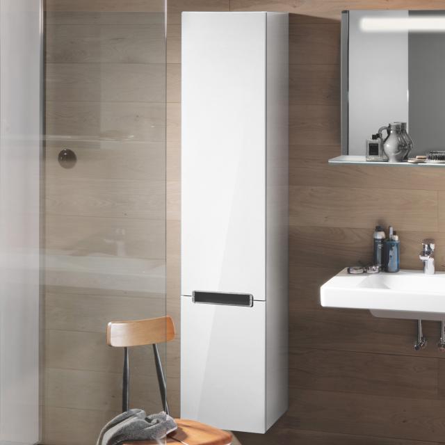 Villeroy & Boch Subway 2.0 Hochschrank mit 2 Türen Front glossy white / Korpus glossy white, Griff chrom