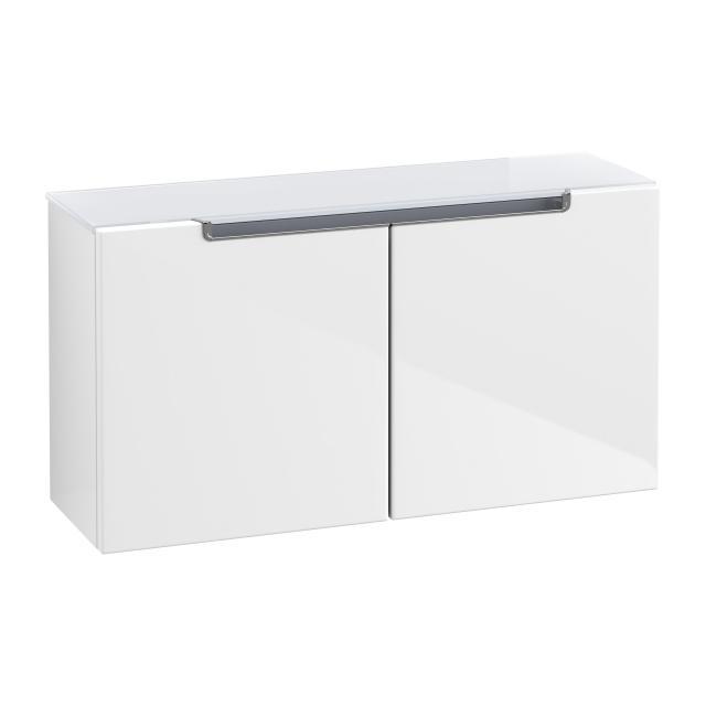 Villeroy & Boch Subway 2.0 Sideboard mit 2 Türen Front glossy white / Korpus glossy white, Abdeckplatte weiß, Griff chrom