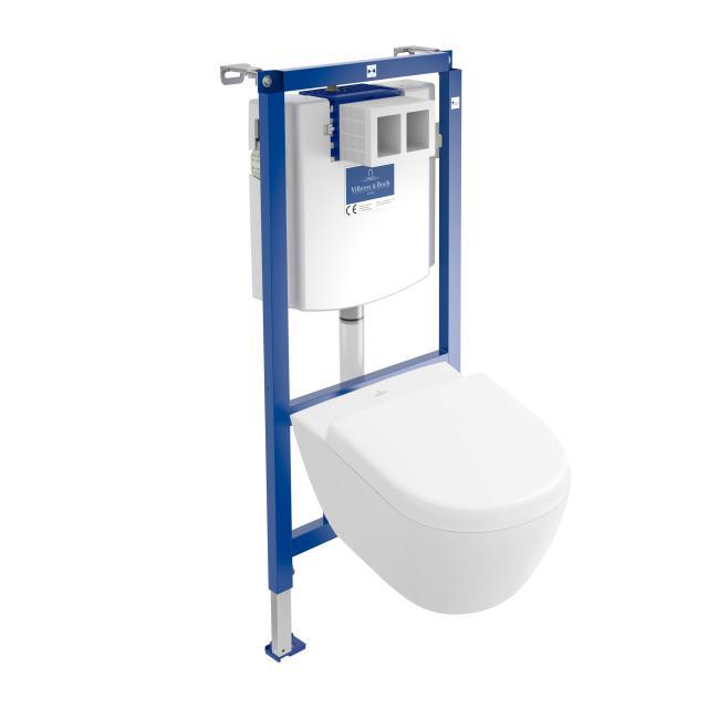 Villeroy & Boch Subway 2.0 & ViConnect NEU Komplett-Set Wand-Tiefspül-WC Compact, offener Spülrand, mit WC-Sitz weiß, mit CeramicPlus