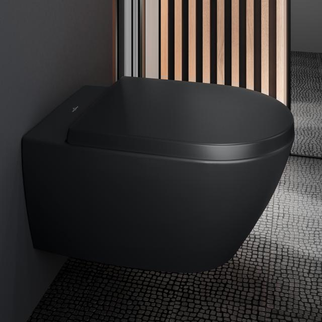 Villeroy & Boch Subway 2.0 Wand-Tiefspül-WC offener Spülrand, DirectFlush ebony, mit CeramicPlus
