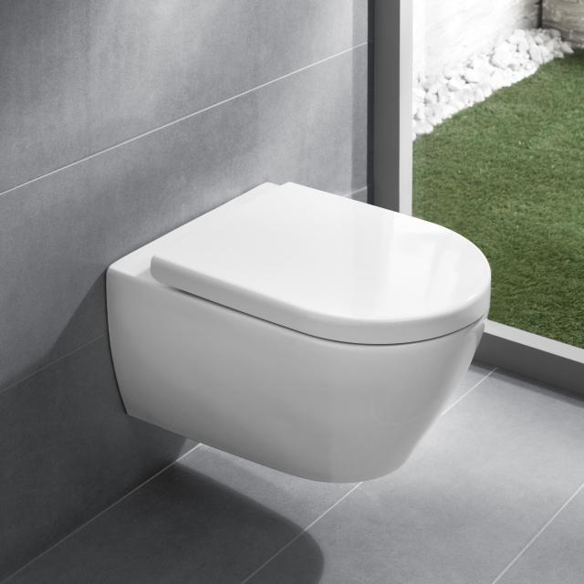 Villeroy & Boch Subway 2.0 Wand-Tiefspül-WC offener Spülrand, DirectFlush, mit WC-Sitz weiß, mit CeramicPlus