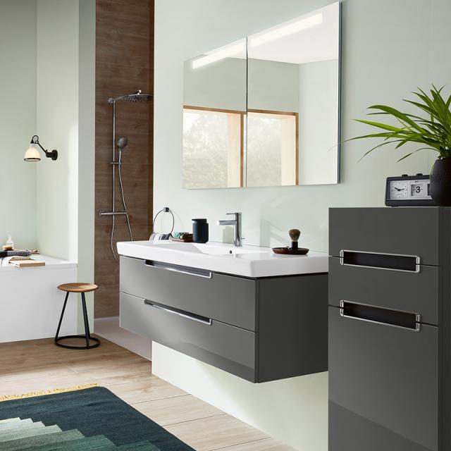 Villeroy & Boch Subway 2.0 Waschtisch mit Waschtischunterschrank und My View In Spiegelschrank Front glossy grey/verspiegelt / Korpus glossy grey/aluminium matt