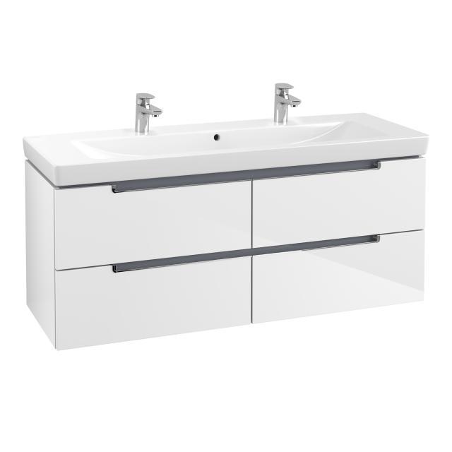 Villeroy & Boch Subway 2.0 Waschtisch mit Waschtischunterschrank mit 4 Auszügen weiß, mit CeramicPlus, mit 2 Hahnlöchern, mit Überlauf