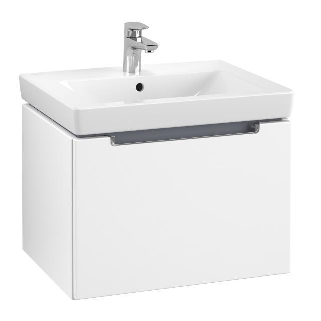 Villeroy & Boch Subway 2.0 Waschtischunterschrank mit 1 Auszug Front weiß matt / Korpus weiß matt, Griff chrom