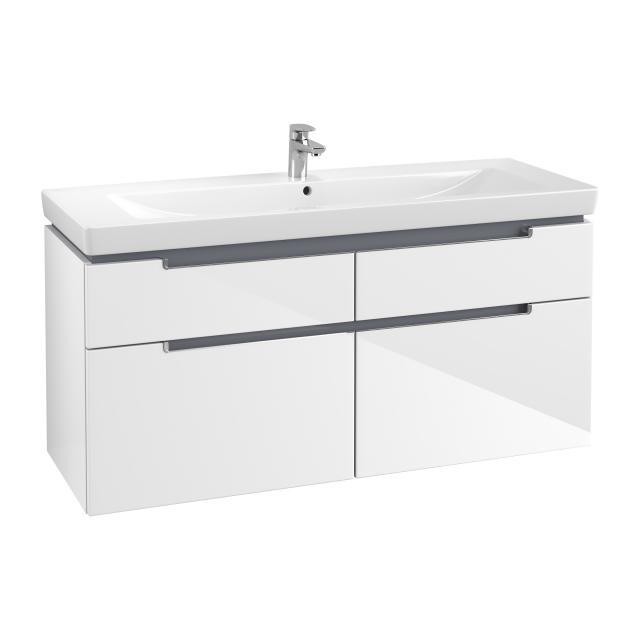 Villeroy & Boch Subway 2.0 Waschtischunterschrank XXL mit 4 Auszügen Front glossy white / Korpus glossy white, Griff chrom