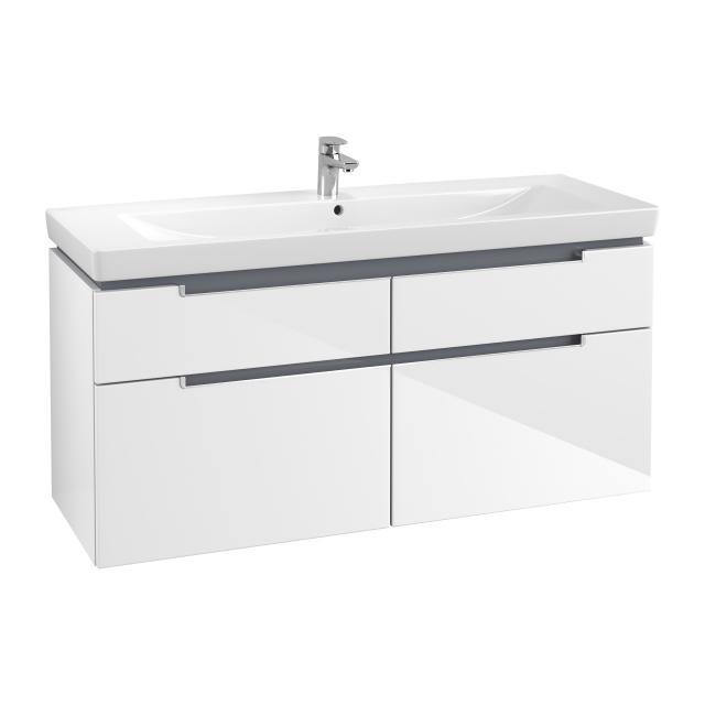 Villeroy & Boch Subway 2.0 Waschtischunterschrank XXL mit 4 Auszügen Front glossy white / Korpus glossy white, Griff silber matt