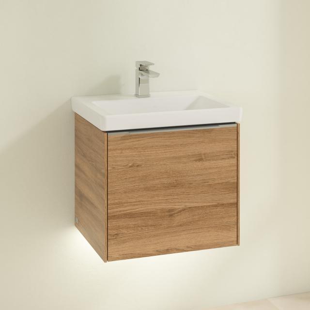 Villeroy & Boch Subway 3.0 Handwaschbecken mit LED-Waschtischunterschrank mit 1 Auszug Front kansas oak / Korpus kansas oak, Griffleiste aluminium glanz, WT stone white, mit CeramicPlus, ohne Überlauf