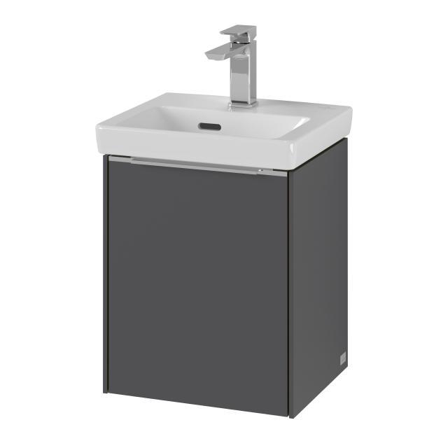 Villeroy & Boch Subway 3.0 Handwaschbecken mit Waschtischunterschrank mit 1 Tür Front graphite / Korpus graphite, Griffleiste aluminium glanz, WT weiß, mit Überlauf