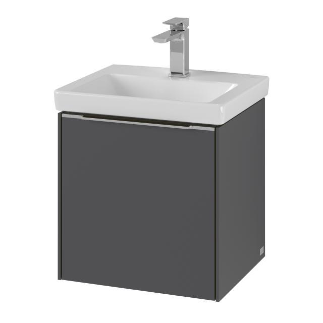 Villeroy & Boch Subway 3.0 Handwaschbecken mit Waschtischunterschrank mit 1 Tür Front graphite / Korpus graphite, Griffleiste aluminium glanz, WT weiß, mit CeramicPlus, ohne Überlauf
