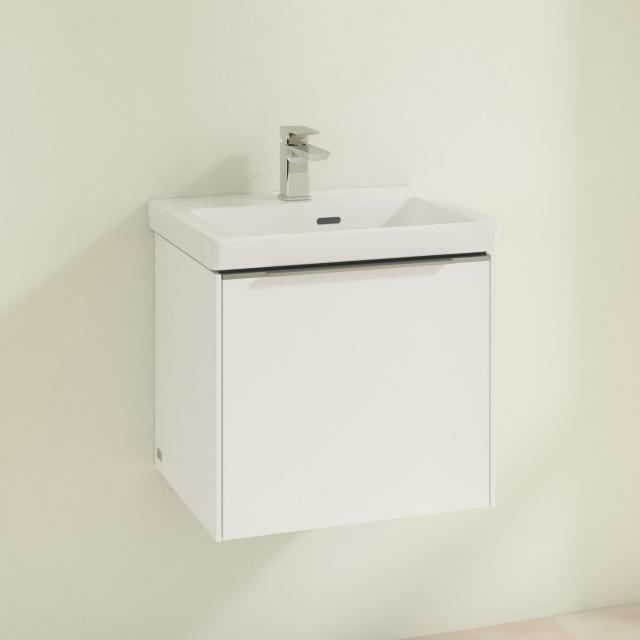 Villeroy & Boch Subway 3.0 Handwaschbecken mit Waschtischunterschrank mit 1 Auszug Front brilliant white / Korpus brilliant white, Griffleiste aluminium glanz, WT weiß, mit Überlauf