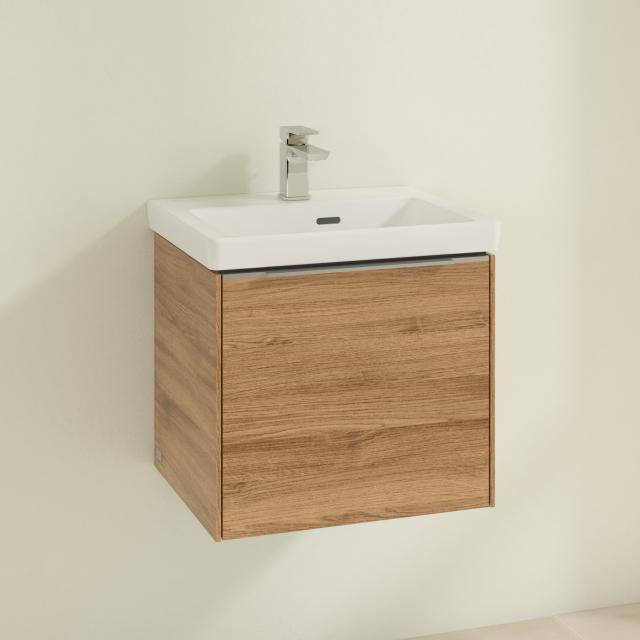 Villeroy & Boch Subway 3.0 Handwaschbecken mit Waschtischunterschrank mit 1 Auszug Front kansas oak / Korpus kansas oak, Griffleiste aluminium glanz, WT weiß, mit CeramicPlus, mit Überlauf