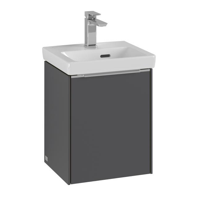 Villeroy & Boch Subway 3.0 Handwaschbeckenunterschrank mit 1 Tür Front graphite / Korpus graphite, Griffleiste aluminium glanz