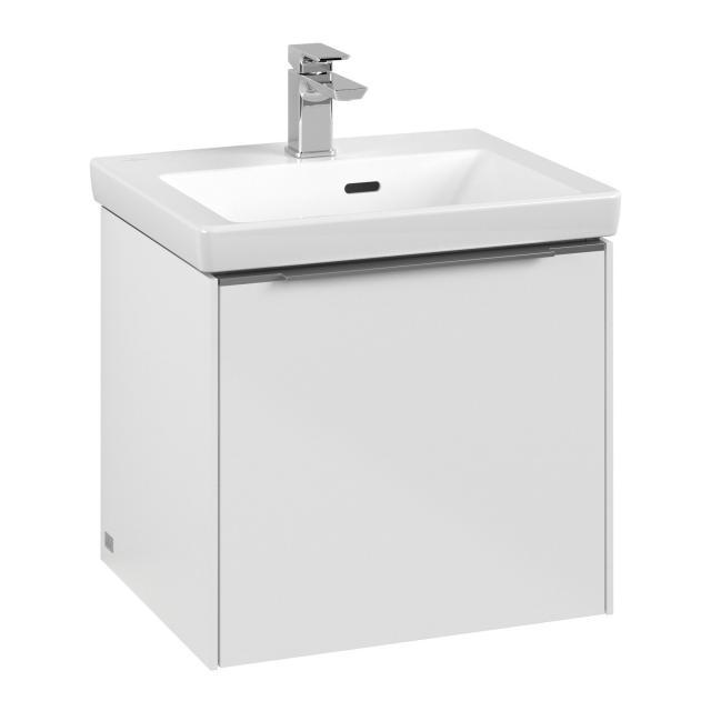 Villeroy & Boch Subway 3.0 Handwaschbeckenunterschrank mit 1 Auszug Front brilliant white / Korpus brilliant white, Griffleiste aluminium glanz