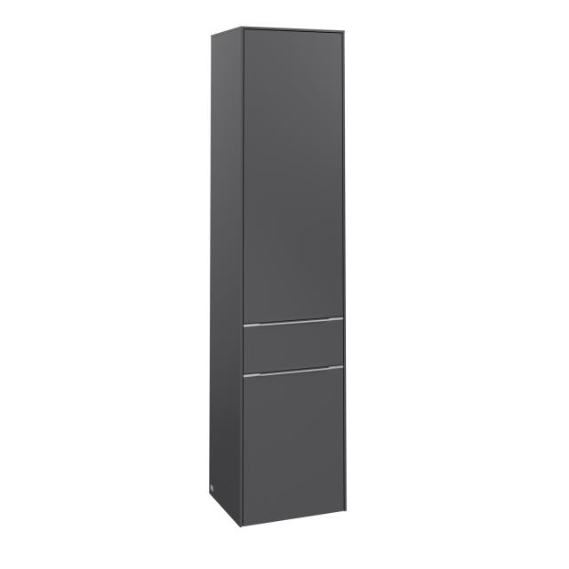Villeroy & Boch Subway 3.0 Hochschrank mit 2 Türen und 1 Auszug Front graphite / Korpus graphite, Griffleiste aluminium glanz