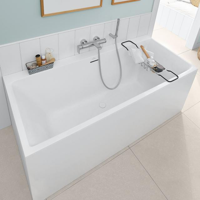 Villeroy & Boch Subway 3.0 Rechteck-Badewanne, Einbau mit SilentFlow weiß, Überlauf weiß