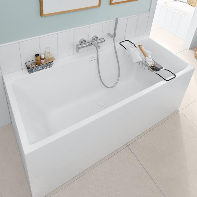 Villeroy & Boch Subway 3.0 Rechteck-Badewanne, Einbau stone white, Überlauf stone white