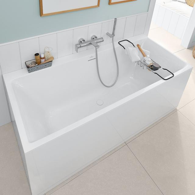 Villeroy & Boch Subway 3.0 Rechteck-Badewanne, Einbau weiß, Überlauf chrom