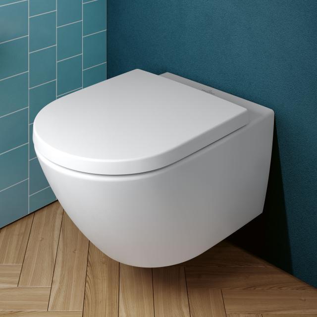Villeroy & Boch Subway 3.0 Wand-Tiefspül-WC TwistFlush, mit WC-Sitz stone white, mit CeramicPlus, WC-Sitz mit Absenkautomatik & abnehmbar