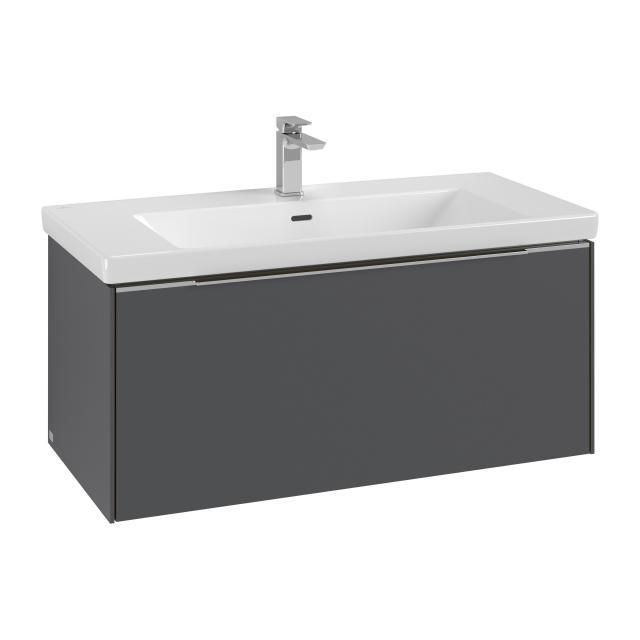 Villeroy & Boch Subway 3.0 Waschtisch mit Waschtischunterschrank mit 1 Auszug Front graphite / Korpus graphite, Griffleiste aluminium glanz, WT weiß, mit 1 Hahnloch, mit Überlauf