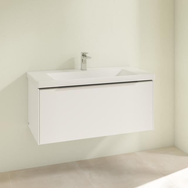 Villeroy & Boch Subway 3.0 Waschtisch mit Waschtischunterschrank mit 1 Auszug Front pure white / Korpus pure white, Griffleiste aluminium glanz, WT weiß, mit 1 Hahnloch, ohne Überlauf