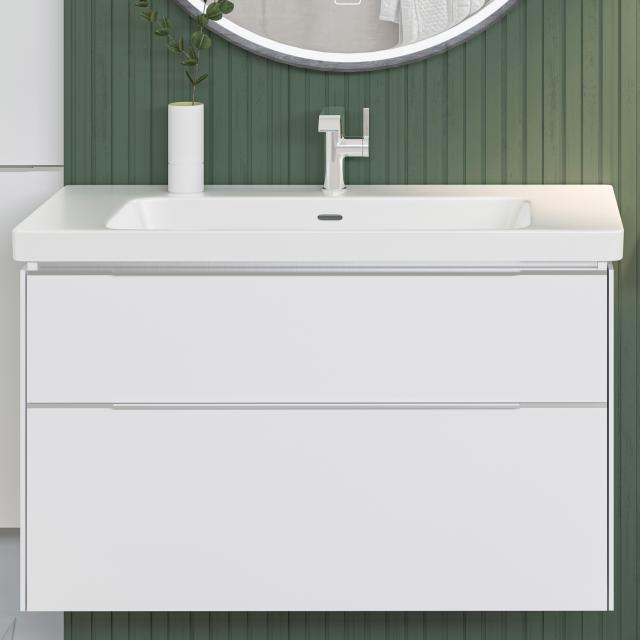 Villeroy & Boch Subway 3.0 Waschtisch mit Waschtischunterschrank mit 2 Auszügen Front brilliant white / Korpus brilliant white, Griffleiste aluminium glanz, WT weiß, mit CeramicPlus, mit 1 Hahnloch, mit Überlauf