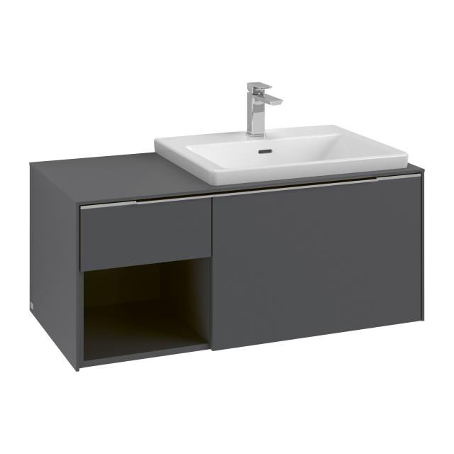 Villeroy & Boch Subway 3.0 Waschtisch mit Waschtischunterschrank mit 2 Auszügen Front graphite / Korpus graphite, Griffleiste aluminium glanz, WT weiß, mit 1 Hahnloch, mit Überlauf